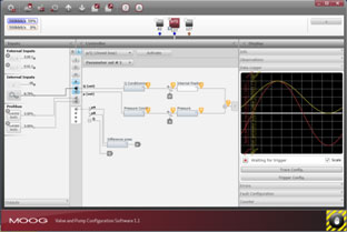 User interface of Moog Valve and Pump Configuration Software