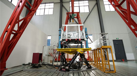 Moog Hydraulic Simulation Table with a car engine mount being tested in CTI Suzhou, China